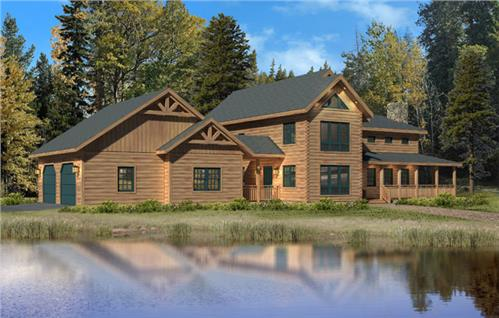 Timberhaven log home design, log home floor plan, Donegal L5, Elevation