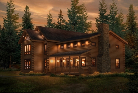 Timberhaven log home design, log home floor plan, Donegal, Elevation