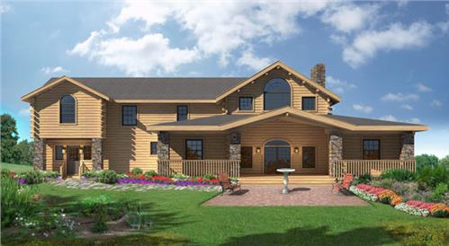 Timberhaven log home design, log home floor plan, Dunmire, Elevation