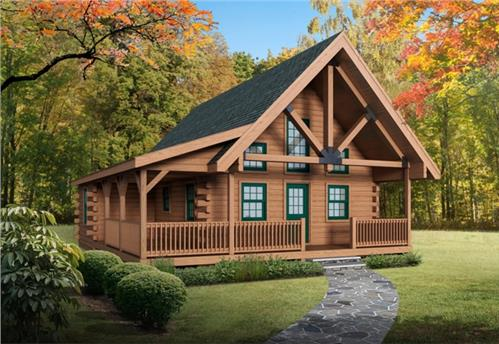 Timberhaven log home design, log home floor plan, Eagle Rock, Elevation