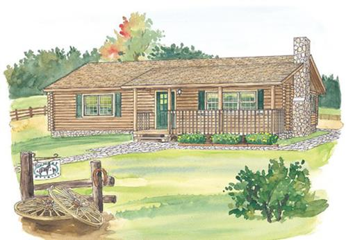 Timberhaven log home design, log home floor plan, Edgewood, Elevation