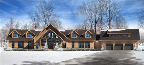 Timberhaven log home design, log home floor plan, Elizabethville, Elevation