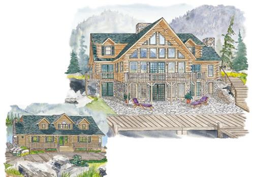 Timberhaven log home design, log home floor plan, Elk Ridge, Elevation