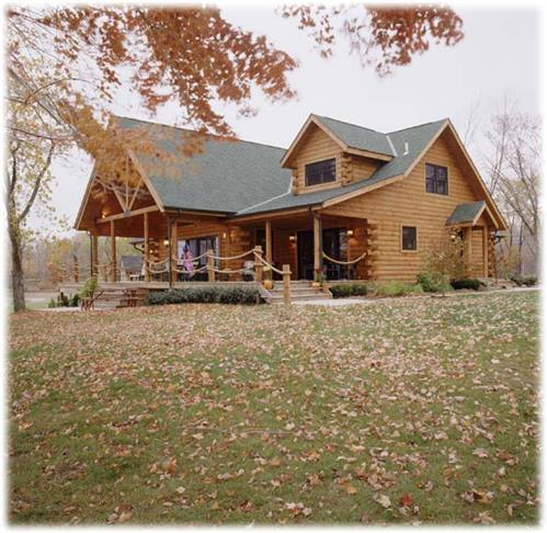 Timberhaven log home design, log home floor plan, Everette, Elevation
