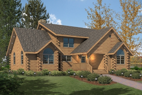 Timberhaven log home design, log home floor plan, Fairfield, Elevation