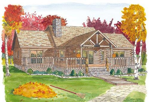 Timberhaven log home design, log home floor plan, Fawn Lake, Elevation