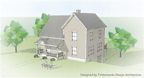 Timberhaven log home design, log home floor plan, Ferrisburg Timber Frame, Elevation