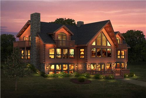 Timberhaven log home design, log home floor plan, Fishing Creek, Elevation
