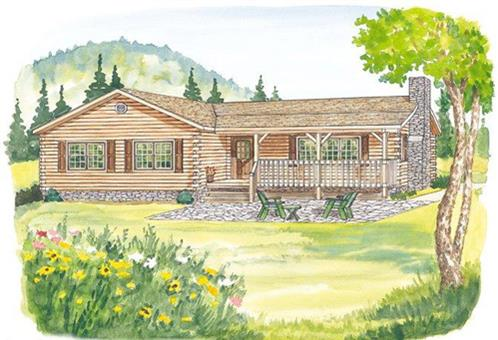 Timberhaven log home design, log home floor plan, Forest Hill, Elevation