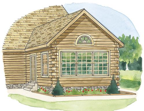 Timberhaven log home design, log home floor plan, Gable Square Sun Room, Elevation