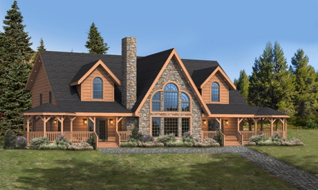 Timberhaven log home design, log home floor plan, Glen Ridge, Elevation