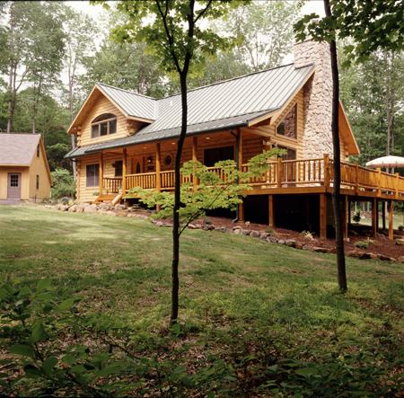 Timberhaven log home design, log home floor plan, Hampton, Elevation