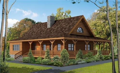 Timberhaven log home design, log home floor plan, Harrisburg, Elevation