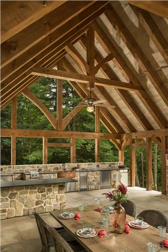 Timberhaven log home design, log home floor plan, Heavy Timber Pavilion, Elevation