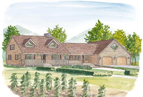 Timberhaven log home design, log home floor plan, Heister House, Elevation