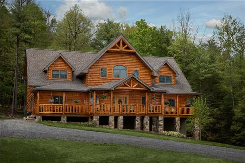 Timberhaven log home design, log home floor plan, Henderson Custom Mountain Log Home , Elevation