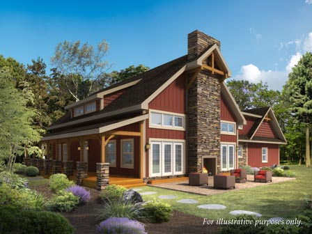 Timberhaven log home design, log home floor plan, Heritage Hybrid, Elevation