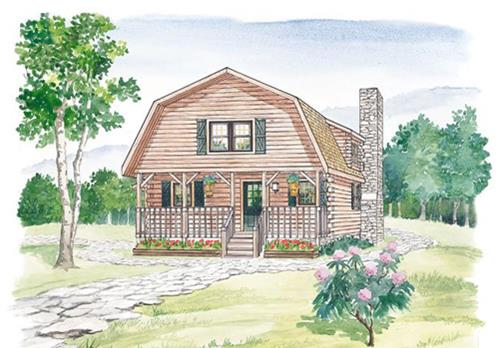 Timberhaven log home design, log home floor plan, Highland, Elevation