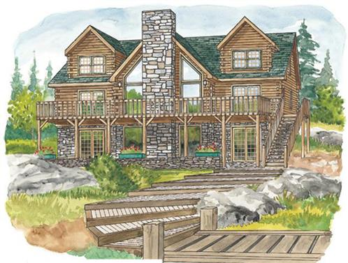 Timberhaven log home design, log home floor plan, Huntingdon, Elevation