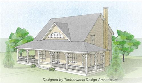 Timberhaven log home design, log home floor plan, Huntington Timber Frame, Elevation