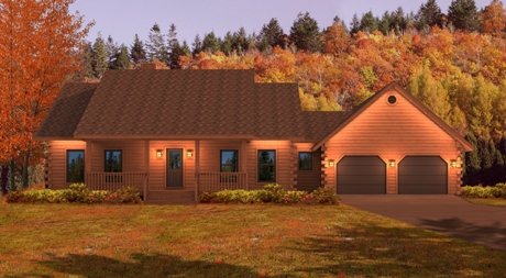 Timberhaven log home design, log home floor plan, Jackson Creek, Elevation