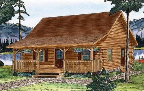 Timberhaven log home design, log home floor plan, Juniata Log Cabin Series, Elevation