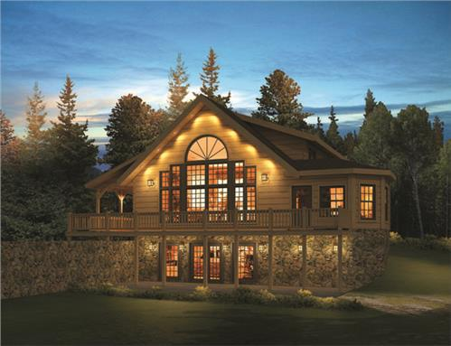 Timberhaven log home design, log home floor plan, Keystone C4, C8B, R1, Elevation