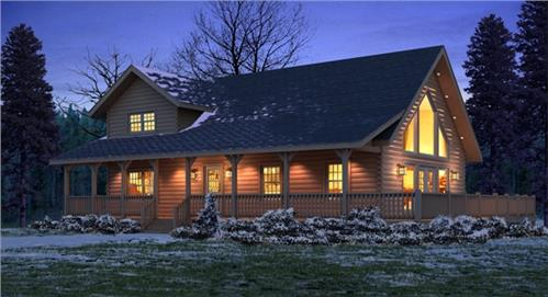 Timberhaven log home design, log home floor plan, Keystone I, Elevation