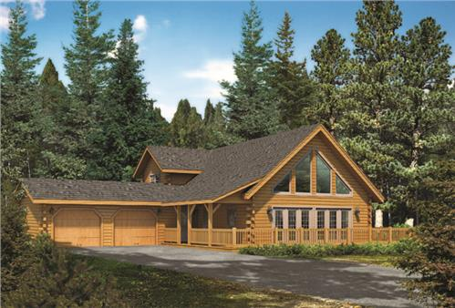 Timberhaven log home design, log home floor plan, Keystone II, Elevation