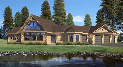 Timberhaven log home design, log home floor plan, Kimberton, Elevation