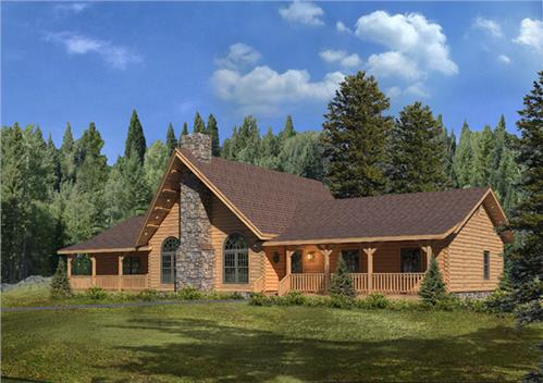 Timberhaven log home design, log home floor plan, Lakeside III, Elevation
