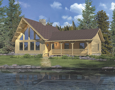 Timberhaven log home design, log home floor plan, Lakeside, Elevation