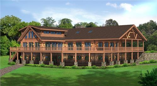 Timberhaven log home design, log home floor plan, Lakeview Clubhouse, Elevation