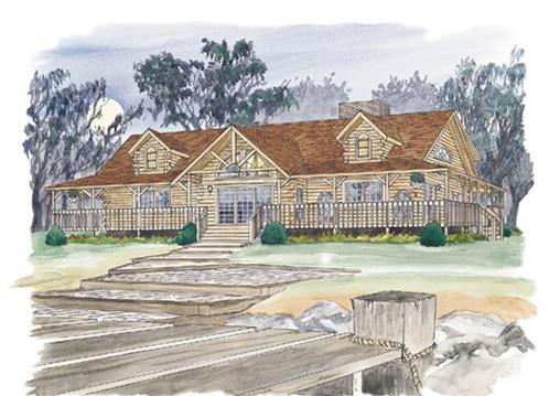 Timberhaven log home design, log home floor plan, Lansdale, Elevation
