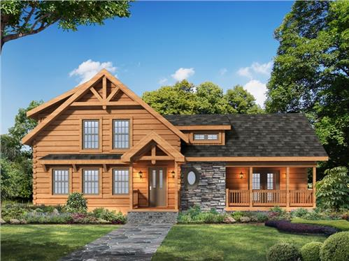 Timberhaven log home design, log home floor plan, Laurel Oaks, Elevation
