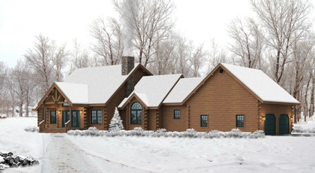 Timberhaven log home design, log home floor plan, Leola, Elevation