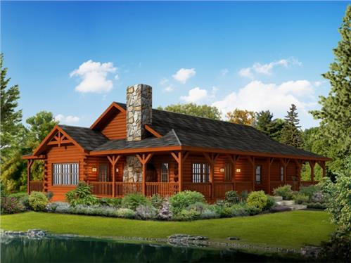 Timberhaven log home design, log home floor plan, Liberty, Elevation