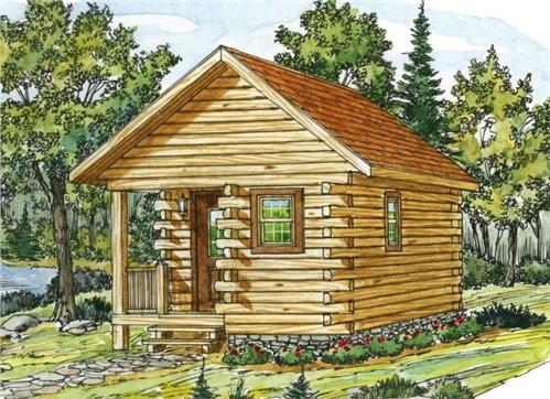 Timberhaven log home design, log home floor plan, Little Pine Log Cabin Series, Elevation