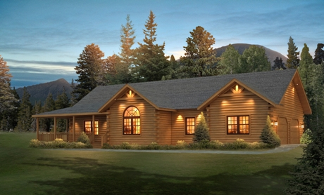 Timberhaven log home design, log home floor plan, Loyalhanna FP1-L1-R2, Elevation
