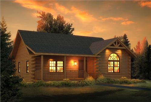 Timberhaven log home design, log home floor plan, Loyalhanna I, Elevation