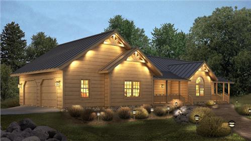 Timberhaven log home design, log home floor plan, Loyalhanna II, Elevation