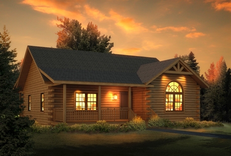 Timberhaven log home design, log home floor plan, Loyalhanna, Elevation