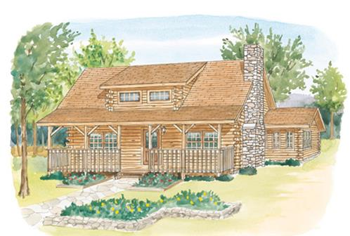 Timberhaven log home design, log home floor plan, Luzerne, Elevation