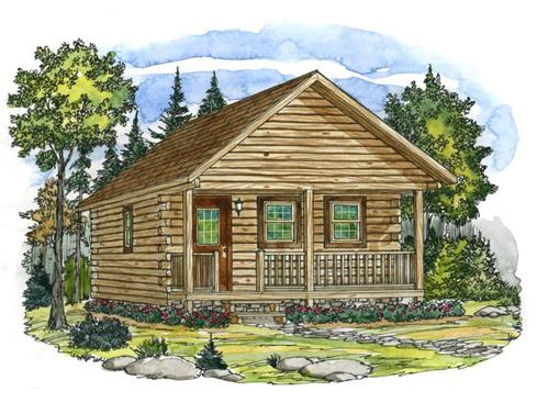Timberhaven log home design, log home floor plan, Mahoning Log Cabin Series, Elevation