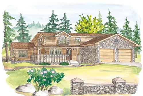 Timberhaven log home design, log home floor plan, Mansfield, Elevation