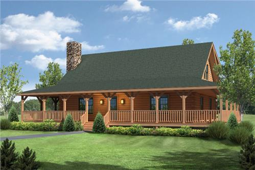 Timberhaven log home design, log home floor plan, Meadow View I, Elevation