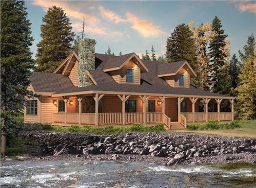 Timberhaven log home design, log home floor plan, Meadow View II, Elevation