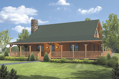 Timberhaven log home design, log home floor plan, Meadow View, Elevation