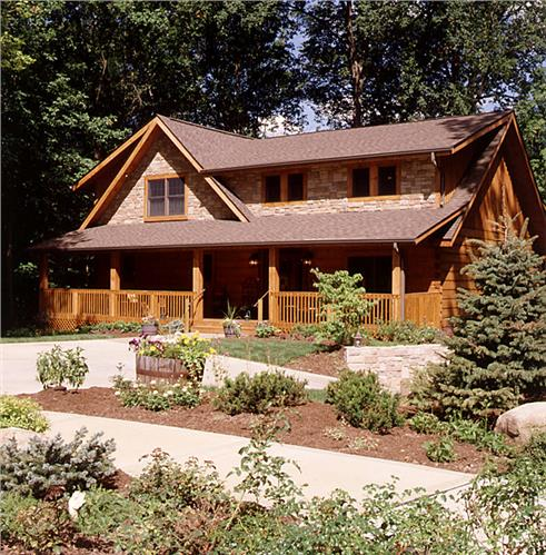 Timberhaven log home design, log home floor plan, Mendenhall, Elevation