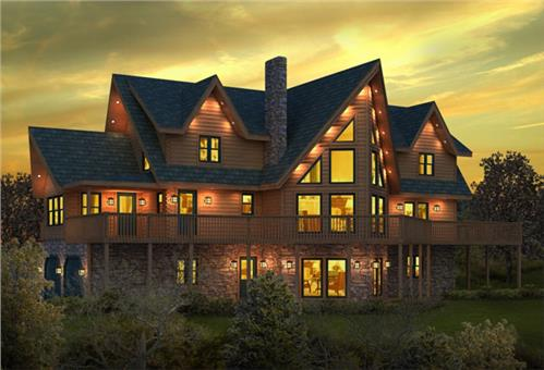 Timberhaven log home design, log home floor plan, Millwood, Elevation